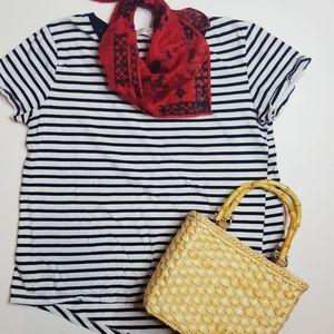 Zara Organic Cotton Navy and White Stripe Tee